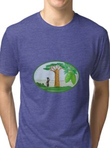 Baobab Tree and Fruit Watercolor Tri-blend T-Shirt