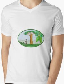 Baobab Tree and Fruit Watercolor Mens V-Neck T-Shirt