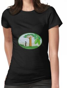 Baobab Tree and Fruit Watercolor Womens Fitted T-Shirt