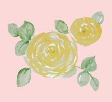 Watercolor yellow roses One Piece - Short Sleeve