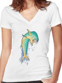 Maxwell the Mahi-Mahi Women's Fitted V-Neck T-Shirt