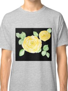 Yellow Watercolor Rose on Black Classic T-Shirt