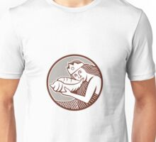 Mermaid Blowing Conch Shell Circle Retro Unisex T-Shirt