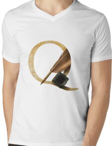 Q for Quill Mens V-Neck T-Shirt
