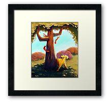 Dog & Squirrels Framed Print