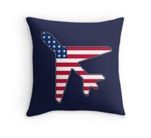 American flag airplane Throw Pillow