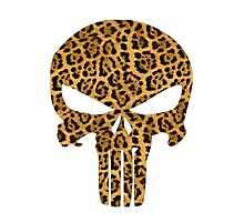 Cheetah Skin Punisher Skull Photographic Print