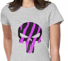 Pink Zebra Stripe Punisher Skull Womens Fitted T-Shirt