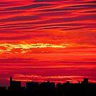 Red Autumn skies in New York City  by Alberto  DeJesus