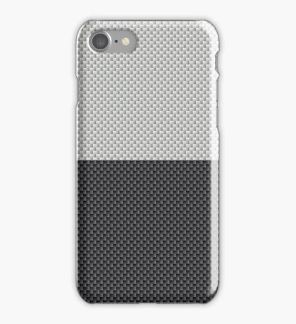 Black and White Two Tone Half and Half White Top Carbon Fiber Pattern  iPhone Case/Skin