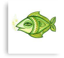 FISH GREEN-YELLOW Canvas Print