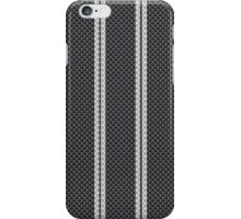 Black with Double White Racing Stripes Kevlar Carbon Fiber Pattern  iPhone Case/Skin