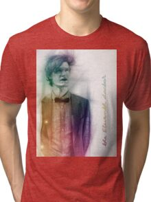 The Eleventh Doctor with pencil sketch Tri-blend T-Shirt