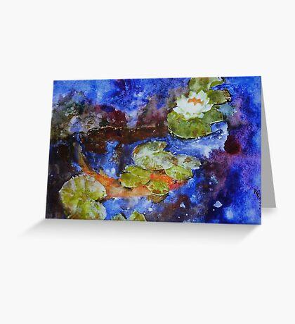 Koi 1 by Sumi Painter William Preston Greeting Card