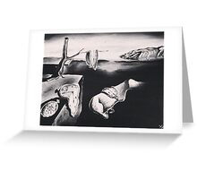 salvador dalì's 'the persistence of memory' in greyscale Greeting Card