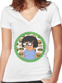 Tina ft Burgers Women's Fitted V-Neck T-Shirt