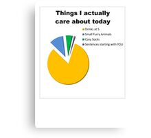 Things I Care About Today Piechart Canvas Print