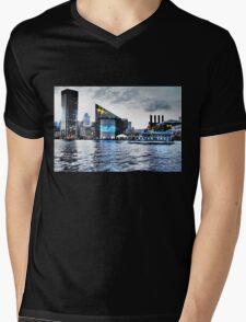 Baltimore City  Maryland Inner Harbor Night Scene Mens V-Neck T-Shirt