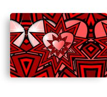 Pink Heart with Red Abstract Pattern Canvas Print