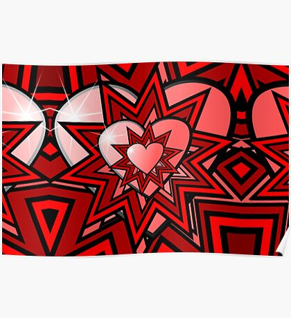 Pink Heart with Red Abstract Pattern Poster