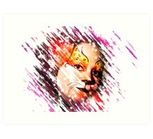 Digitally manipulated young teenage female model with elaborate tiger make up mask  Art Print