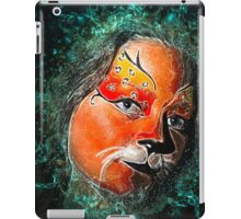 Digitally manipulated young teenage female model with elaborate tiger make up mask  iPad Case/Skin