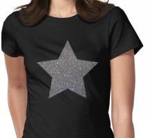Silver Glitter Macro Star Womens Fitted T-Shirt