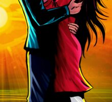 Romantic Couple against Sunrise on Beach: Sivappu Kal Mookuthi Tamil Comics Merchandise Sticker