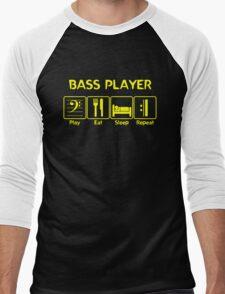 Bass Player -- Play Eat Sleep Repeat Men's Baseball ¾ T-Shirt