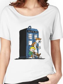 calvin and hobbes police box in action Women's Relaxed Fit T-Shirt