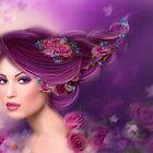 Fantasy woman with purple flowers by Alena Lazareva