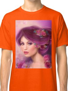 Fantasy woman with purple flowers Classic T-Shirt