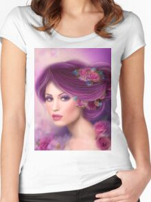Fantasy woman with purple flowers Women's Fitted Scoop T-Shirt