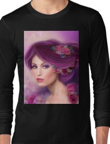 Fantasy woman with purple flowers Long Sleeve T-Shirt