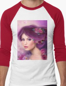 Fantasy woman with purple flowers Men's Baseball ¾ T-Shirt