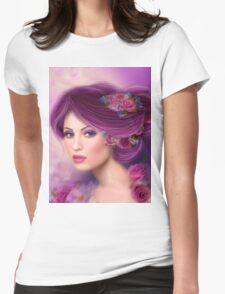 Fantasy woman with purple flowers Womens Fitted T-Shirt