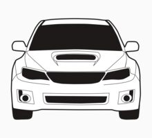 Front Profile WRX STI Sticker / Tee Shirt Designed for Subaru Impreza Fans - White One Piece - Long Sleeve