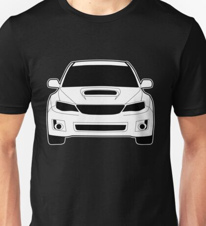 Front Profile WRX STI Sticker / Tee Shirt Designed for Subaru Impreza Fans - White Unisex T-Shirt