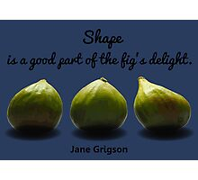 Shape is a Good Part of the Fig's Delight.  Jane Grigson quote Photographic Print