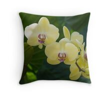 Pale Yellow Orchids in Lush Jungle Green Throw Pillow