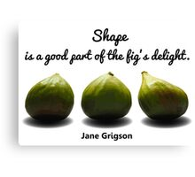Shape is a Good Part of the Fig's Delight.  Jane Grigson quote Canvas Print