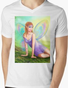 Fantasy fairy butterfly sits on grass in wood. Mens V-Neck T-Shirt