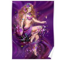 Fantasy Woman and purple flowers Poster