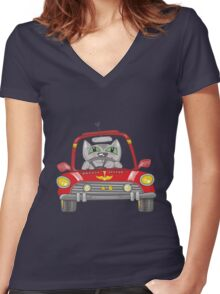Cat on the car Women's Fitted V-Neck T-Shirt