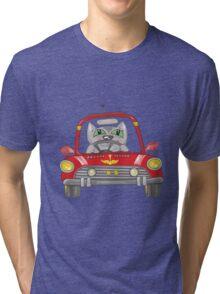 Cat on the car Tri-blend T-Shirt