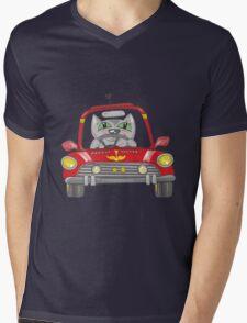 Cat on the car Mens V-Neck T-Shirt