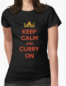 Keep Calm and Curry On Womens Fitted T-Shirt