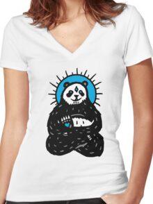 Spirit Panda Women's Fitted V-Neck T-Shirt
