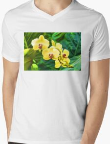 Tropical Impressions - Golden Yellow Orchids Mens V-Neck T-Shirt