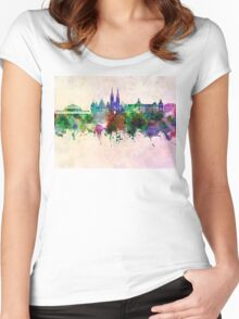 Wroclaw skyline in watercolor background Women's Fitted Scoop T-Shirt